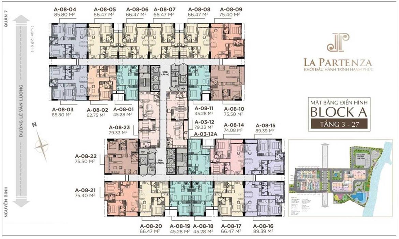 Mặt bằng dự án căn hộ chung cư La Partenza Nhà Bè Đường Lê Văn Lương chủ đầu tư Khải Minh Land
