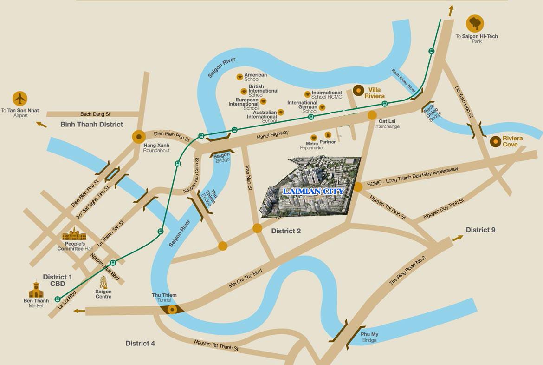 Vị trí địa chỉ dự án căn hộ chung cư Laimian City Quận 2 Đường Lương Đình Của chủ đầu tư HDTC