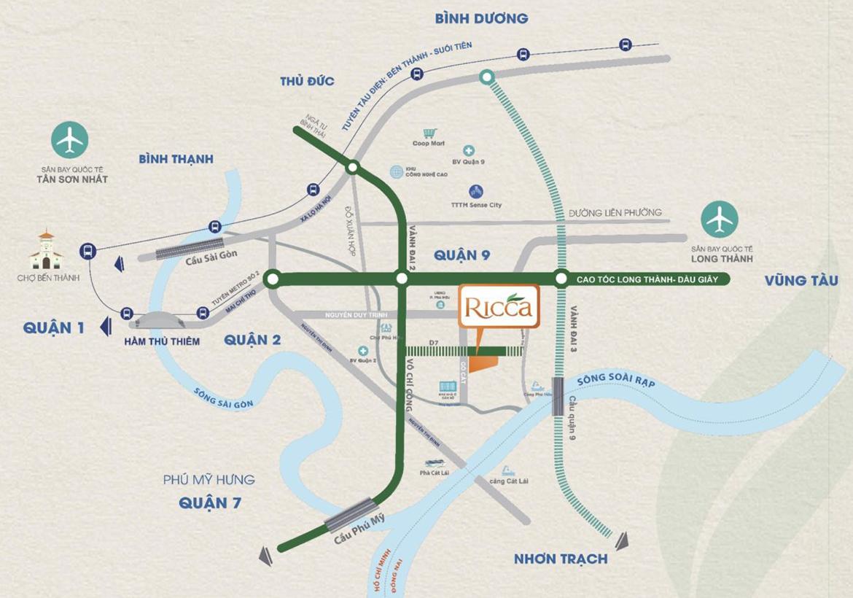 Vị trí địa chỉ dự án Căn hộ chung cư Ricca Quận 9 Đường Gò Cát Phường Phú Hữu