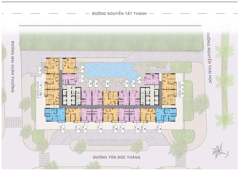 Mặt bằng dự án căn hộ chung cư Grand Center Quy Nhơn Đường Nguyễn Tất Thành chủ đầu tư Hưng Thịnh