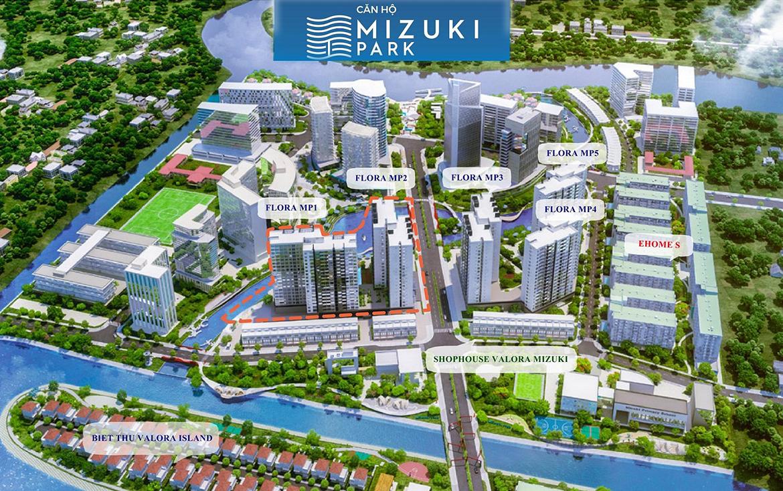 Mặt bằng dự án căn hộ chung cư Mizuki Park Bình Chánh Đường Nguyễn Văn Linh chủ đầu tư Nam Long