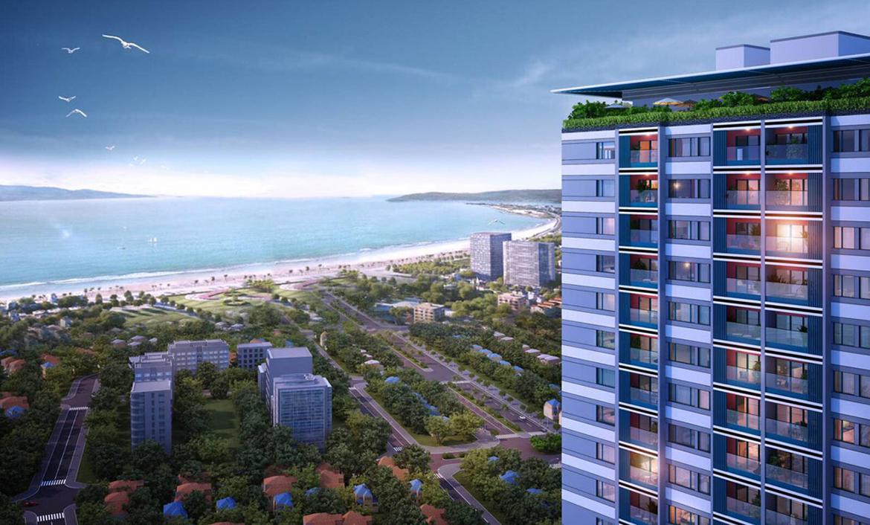 Phối cảnh dự án căn hộ chung cư Grand Center Quy Nhơn Đường Nguyễn Tất Thành chủ đầu tư Hưng Thịnh