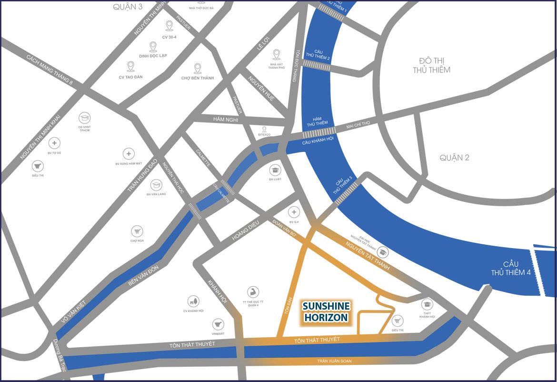 Vị trí địa chỉ dự án căn hộ chung cư Sunshine Horizon Quận 4 Đường Tôn Thất Thuyết chủ đầu tư Sunshine Group