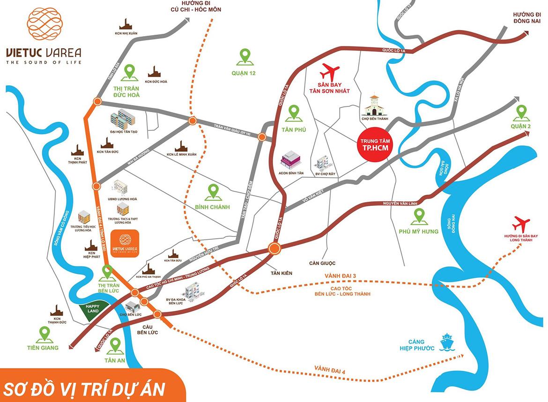 Vị trí địa chỉ dự án đất nền nhà phố VietUc Varea Đường Vành Đai 4 Bến Lức Long An