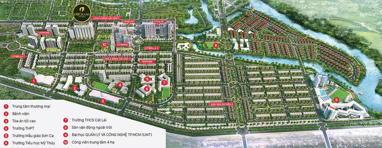 Mặt bằng tổng thể dự án căn hộ chung cư CitiGrand Quận 2 Đường KĐT Cát Lái chủ đầu tư Kiến Á