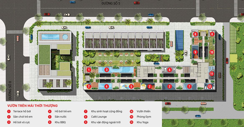 Mặt bằng tiện ích tầng mái dự án căn hộ chung cư Citi Grand Quận 2 Đường KĐT Cát Lái chủ đầu tư Kiến Á