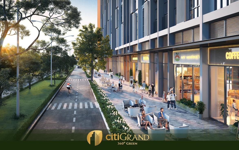 Khu cafe ngoài trời, lối đi bộ dự án căn hộ chung cư Citi Grand Quận 2 Đường KĐT Cát Lái chủ đầu tư Kiến Á