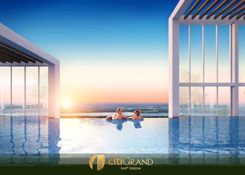 Tiện ích hồ bơi vô cực trên tầng mái dự án căn hộ chung cư Citi Grand Quận 2 Đường KĐT Cát Lái chủ đầu tư Kiến Á