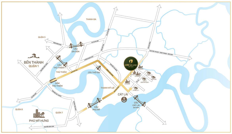 Vị trí địa chỉ dự án căn hộ chung cư Citi Grand Quận 2 Đường KĐT Cát Lái chủ đầu tư Kiến Á