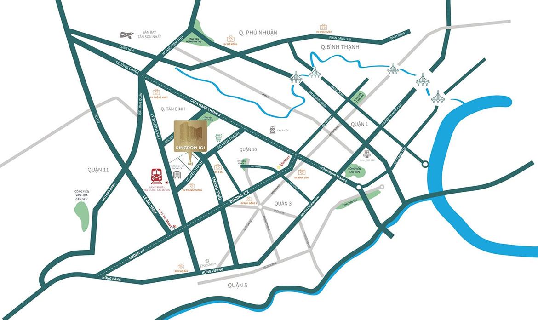Vị trí địa chỉ dự án căn hộ chung cư Kingdom 101 Quận 10 Đường Tô Hiến Thành chủ đầu tư Hoa Lâm