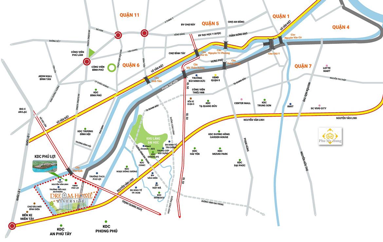 Vị trí địa chỉ dự án căn hộ chung cư Dream Home Riverside Quận 8 Đường Nguyễn Văn Linh