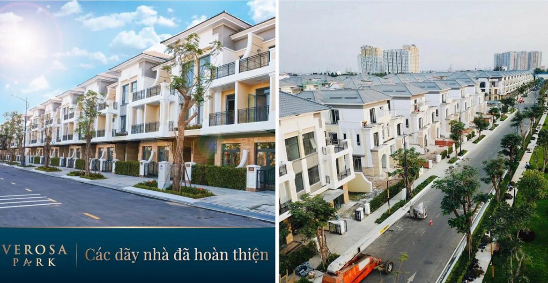 Hình ảnh thực tế tiến độ dự án nhà phố biệt thự Verosa Park Khang Điền Quận 9