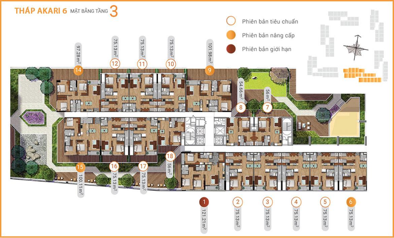 Mặt bằng dự án căn hộ chung cư Akari City Quận Bình Tân Đường Võ Văn Kiệt