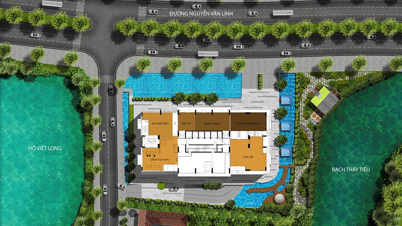 Mặt bằng Ttiện ích tầng trệt dự án căn hộ chung cư Ascent Lakeside Quận 7 Đường Nguyễn Văn Linh