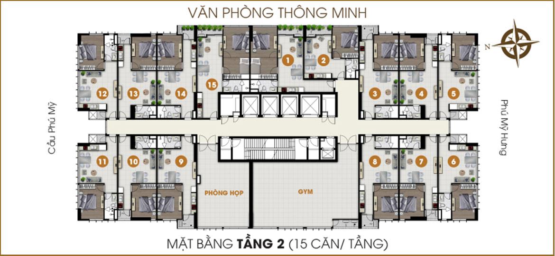 Mặt bằng dự án căn hộ chung cư Ascent Lakeside Quận 7 Đường Nguyễn Văn Linh