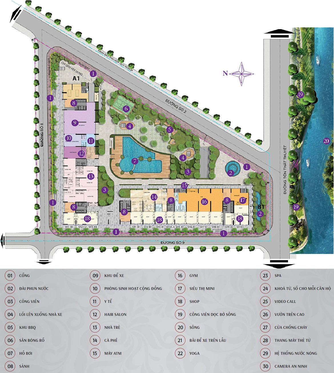 Mặt bằng bố trí tiện ích bên trong dự án căn hộ chung cư Charmington Iris Quận 4 Đường Tôn Thất Thuyết