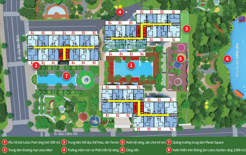 Mặt bằng dự án căn hộ chung cư Diamond Lotus Lake View Quận Tân Phú Đường Lũy Bán Bích