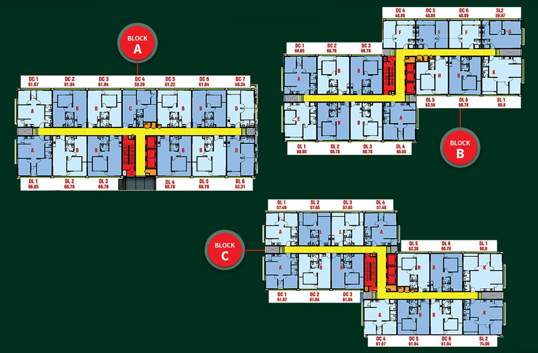 Mặt bằng bố trí 3 block căn hộ chung cư Diamond Lotus Lake View Quận Tân Phú Đường Lũy Bán Bích