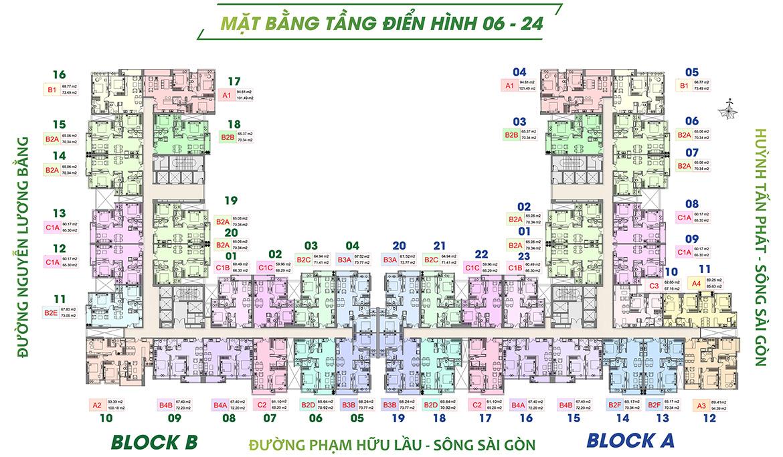 Mặt bằng dự án căn hộ chung cư Green Star Sky Garden đường Nguyễn Lương Bằng Quận 7