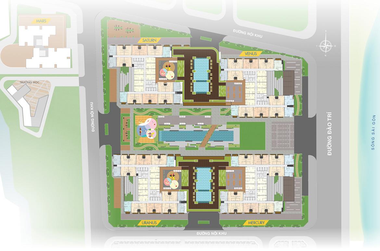 Mặt bằng tổng thể dự án căn hộ chung cư Q7 Saigon Riverside đường Đào Trí quận 7