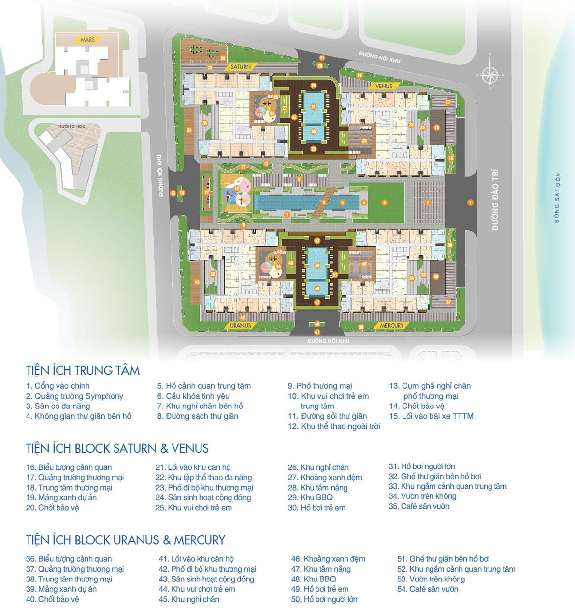 Mặt bằng tiện ích dự án căn hộ chung cư Q7 Saigon Riverside đường Đào Trí quận 7