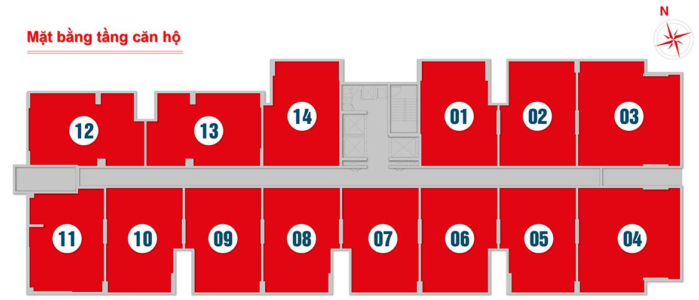 Mặt bằng tâng căn hộ điển hình (tầng 6 - 20) dự án West Intela đường An Dương Vương Quận 8