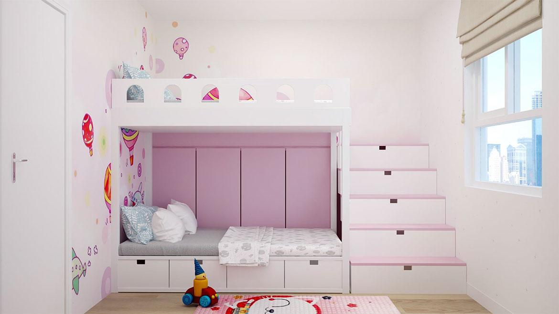 Không gian phòng ngủ cho bé nhà mẫu dự án căn hộ chung cư West Intela đường An Dương Vương Quận 8