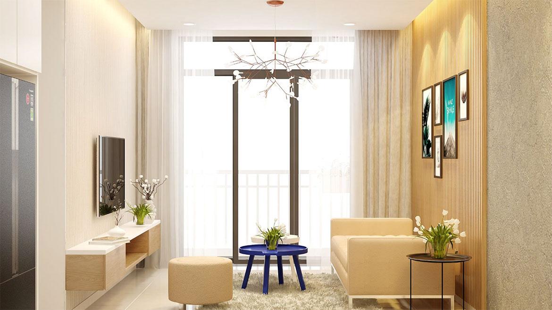 Không gian sinh hoạt chung nhà mẫu dự án căn hộ chung cư West Intela đường An Dương Vương Quận 8