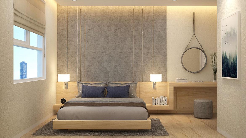 Không gian phòng ngủ chính nhà mẫu dự án căn hộ chung cư West Intela đường An Dương Vương Quận 8