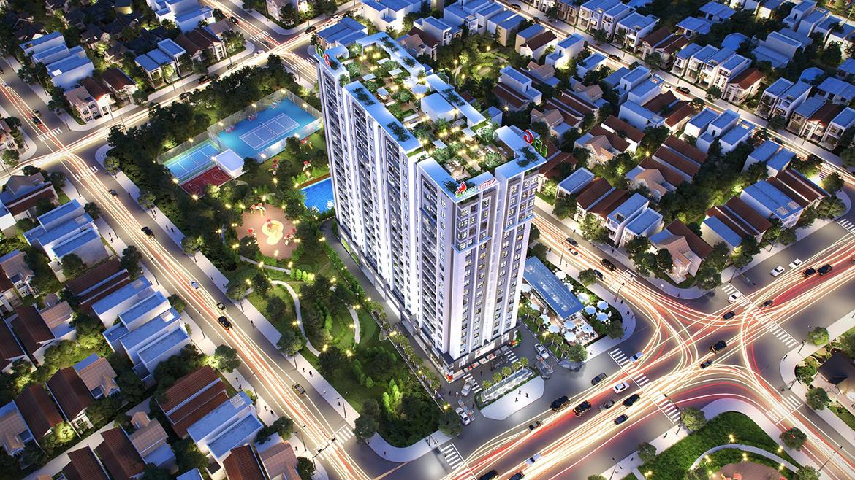 Phối cảnh tiện ích dự án căn hộ chung cư West Intela đường An Dương Vương Quận 8 nhìn từ trên cao