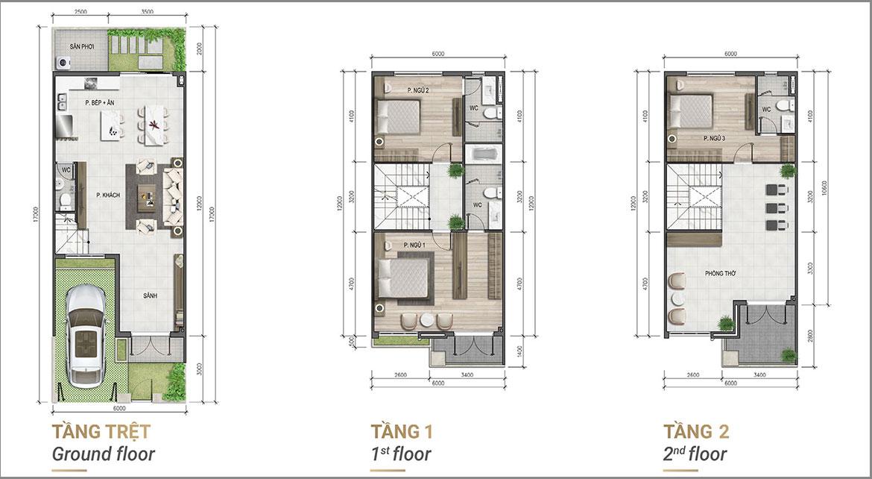Thiết kế chi tiết nhà phố liên kế góc dự án Verosa Park Khang Điền Quận 9