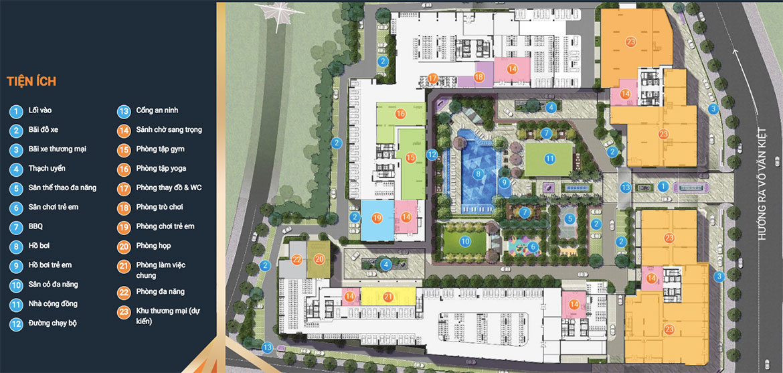 Mặt bằng bố trí tiện ích dự án căn hộ chung cư Akari City Quận Bình Tân Đường Võ Văn Kiệt