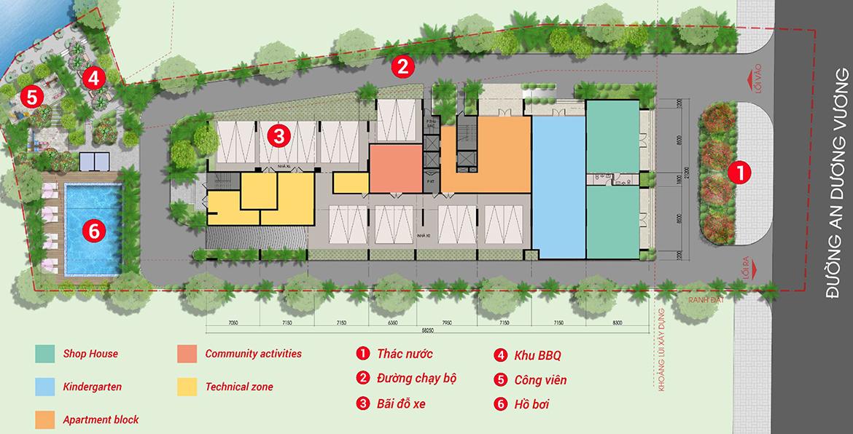 Mặt bằng bố trí tiện ích dự án căn hộ chung cư West Intela đường An Dương Vương Quận 8