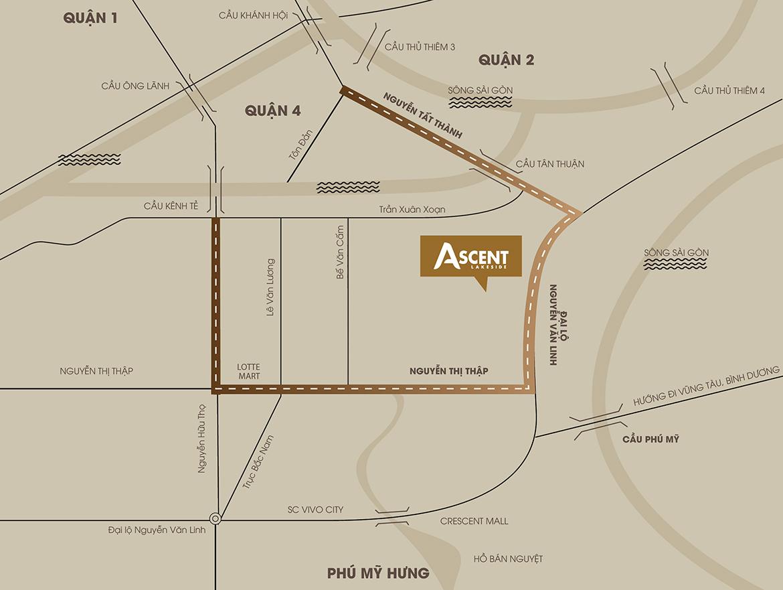 Vị trí địa chỉ dự án căn hộ chung cư Ascent Lakeside Quận 7 Đường Nguyễn Văn Linh