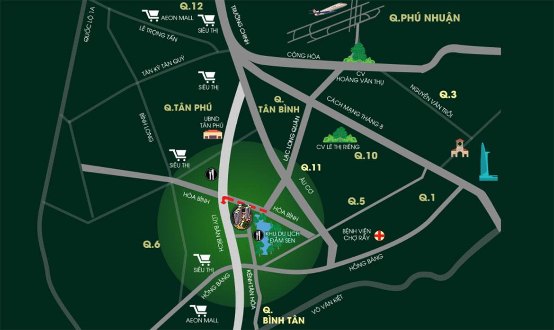 Vị trí địa chỉ dự án căn hộ chung cư Diamond Lotus Lake View Quận Tân Phú Đường Lũy Bán Bích