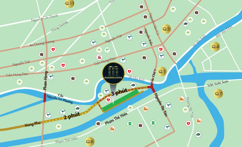 Vị trí địa chỉ dự án căn hộ chung cư Diamond Lotus Riverside Quận 8 Đường Lê Quang Kim