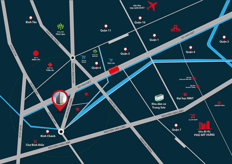 Vị trí địa chỉ dự án căn hộ chung cư West Intela đường An Dương Vương Quận 8