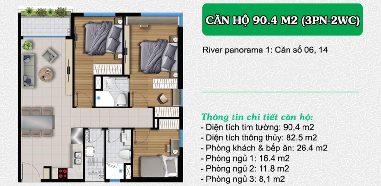 Bán căn hộ River Panorama quận 7, căn góc (3PN-2WC) view sông giá 3 tỷ 350