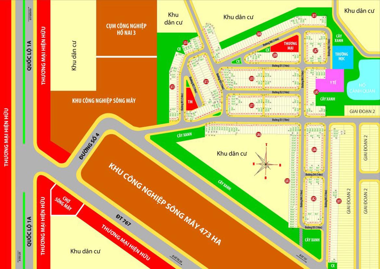 Mặt bằng phân lô đất nền dự án PNR Estella Đồng Nai