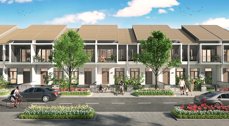 Thiết kế mẫu nhà phố liên kế 2 mái dự án Gem Sky World Đồng Nai