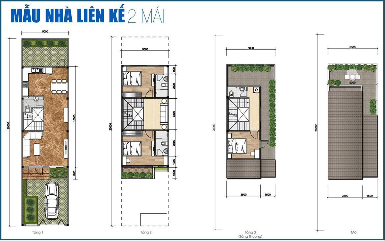 Thiết kế nhà phố liên kế 2 mái dự án Gem Sky World Long Thành Đồng Nai
