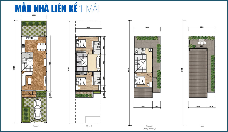 Thiết kế nhà phố liên kế 1 mái dự án Gem Sky World Long Thành Đồng Nai