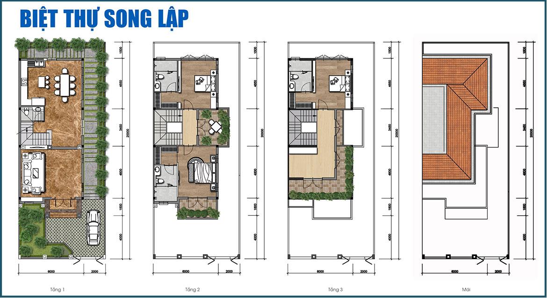 Thiết kế biệt thự song lập dự án Gem Sky World Long Thành Đồng Nai