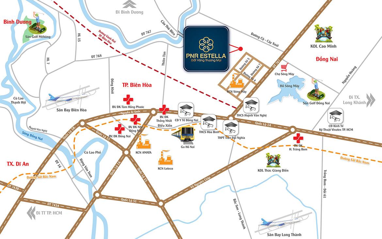 Vị trí địa chỉ đất nền dự án PNR Estella Đồng Nai