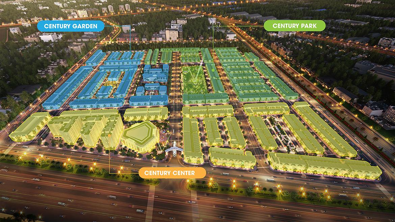 Mặt bằng dự án đất nền nhà phố biệt thự Century City Long Thành Đồng Nai