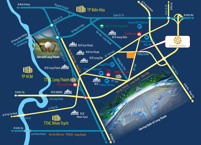 Vị trí địa chỉ dự án đất nền nhà phố biệt thự Century City Long Thành Đồng Nai
