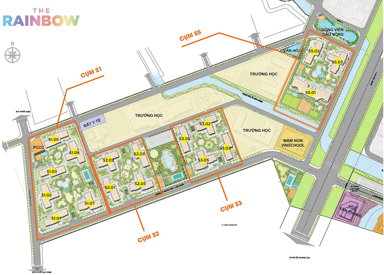 Mặt bằng căn hộ chung cư phân khu The Rainbow dự án Vinhomes Grand Park Quận 9 chủ đầu tư Vingroup