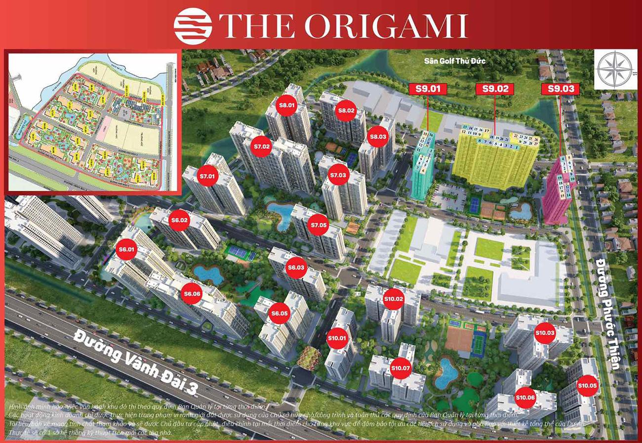 Mặt bằng chi tiết căn hộ chung cư phân khu The Origami dự án Vinhomes Grand Park Quận 9 chủ đầu tư Vingroup