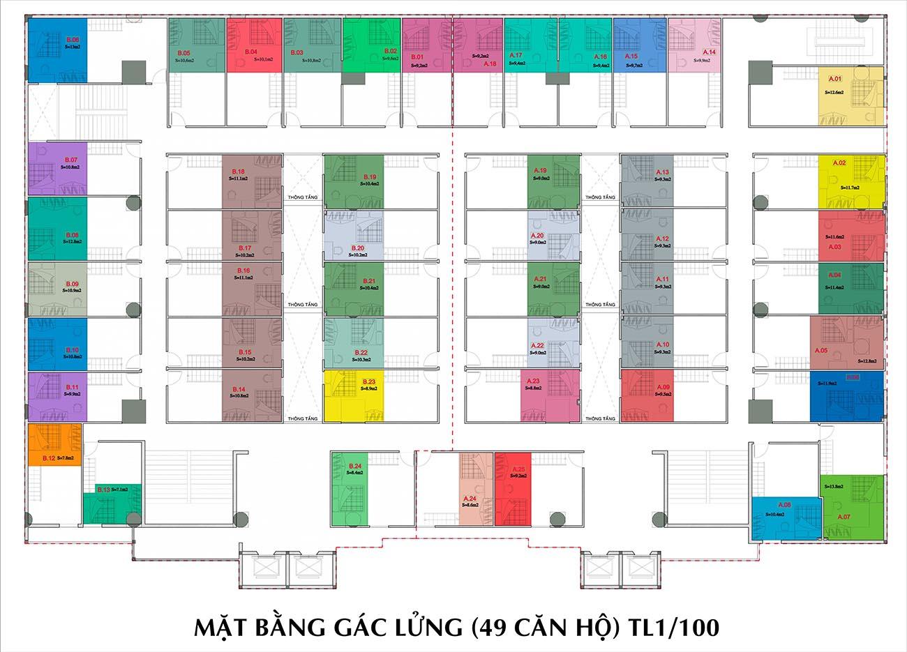 Mặt bằng dự án căn hộ chung cư 9X Golden Stella Bình Tân