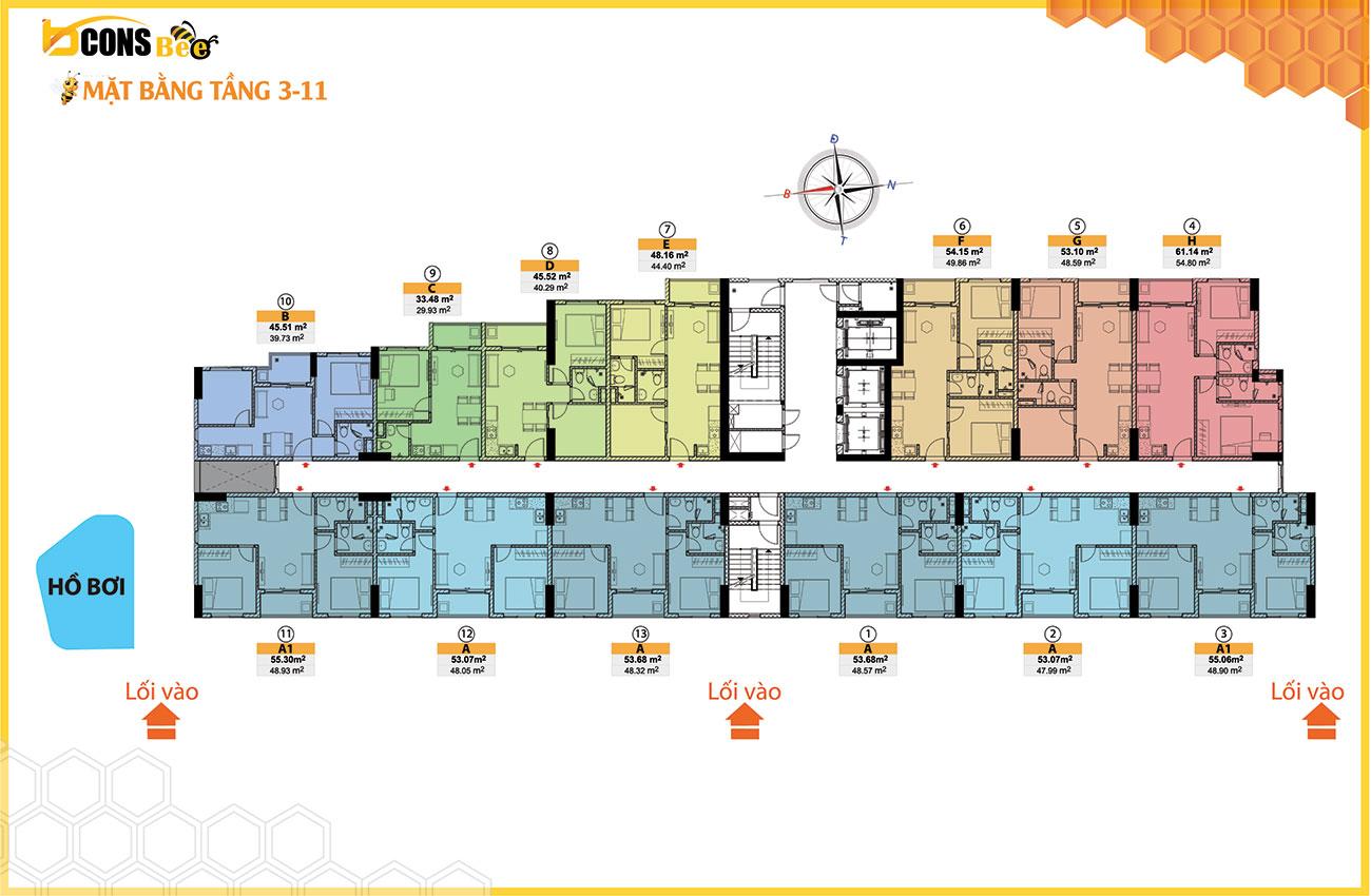 Mặt bằng dự án căn hộ chung cư Bcons Bee Bình Dương